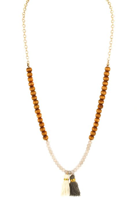 wood bead tassel necklace wood glass bead tassel necklace necklaces