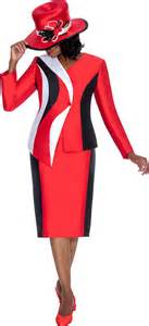 gmi g5542 red black white womens church suits fall