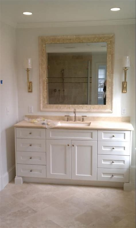 limestone white cabinets visual comfort light kohler - Bathroom Mirror Surrounds