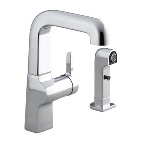kohler evoke kitchen faucet kohler evoke single 1 handle low arc side sprayer kitchen faucet in polished chrome with
