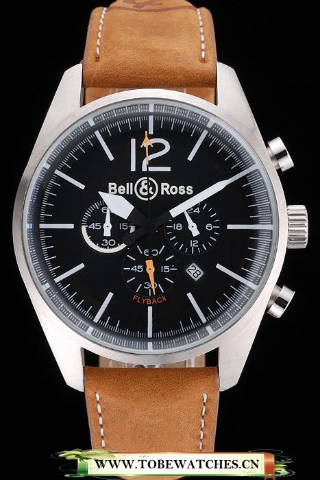 Bell Silver Black Leather by Bell And Ross Br126 Flyback Black Silver Brown