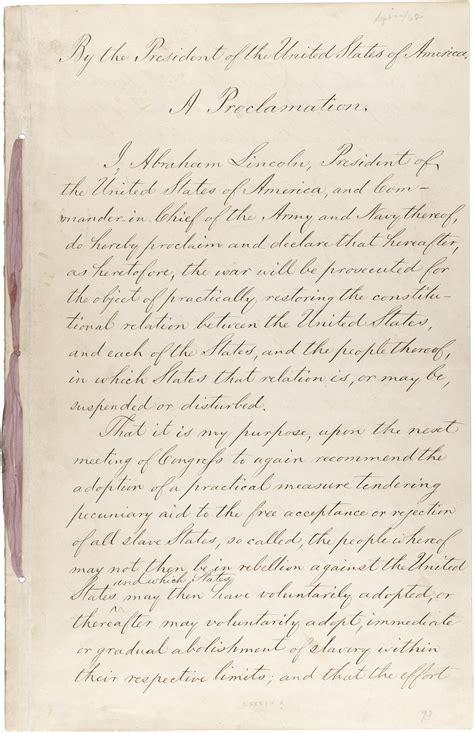 Press Kits: American Originals Traveling Exhibit Emancipation Proclamation Actual Document