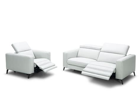 Contemporary Sofa Recliner Divani Casa Roslyn Modern White Leather Sofa Set W Recliners