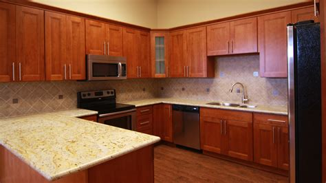 cherry shaker kitchen cabinets double shaker cherry renton cabinet and graniterenton