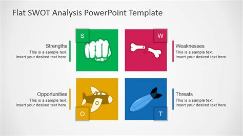 Free Flat Swot Analysis Presentation Template Slidemodel Free Swot Analysis Templates