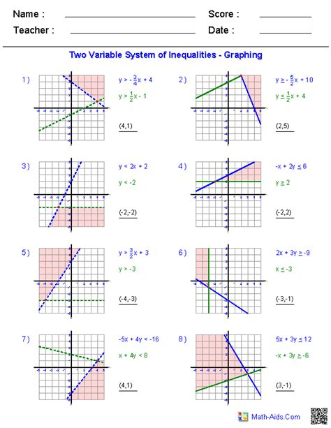 Solve Each System By Graphing Worksheet by Algebra 1 Worksheets Systems Of Equations And