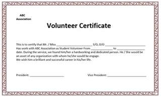 Volunteer Certificate Templates For Word volunteer certificate template microsoft word templates