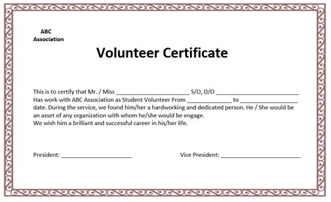 volunteer certificate template microsoft word templates