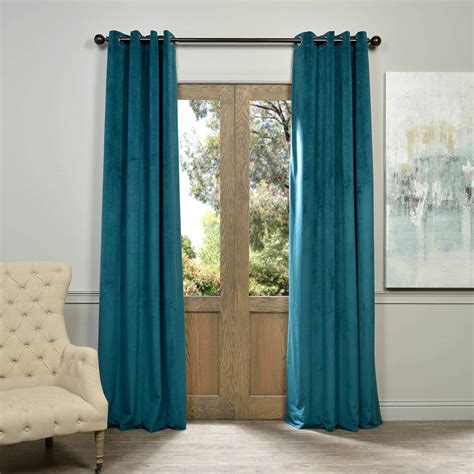 Teal Blue Curtains Drapes Signature Everglade Teal Grommet Blackout Velvet Curtains