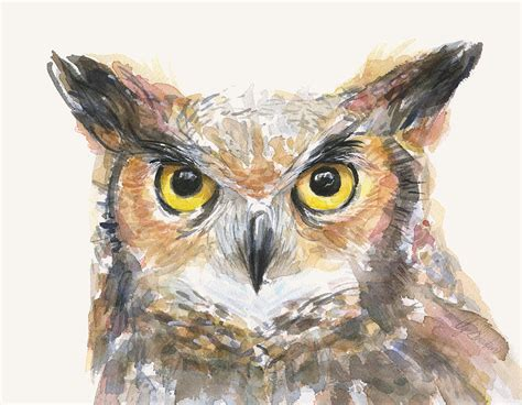 Wood Curtain by Great Horned Owl Watercolor Painting By Olga Shvartsur