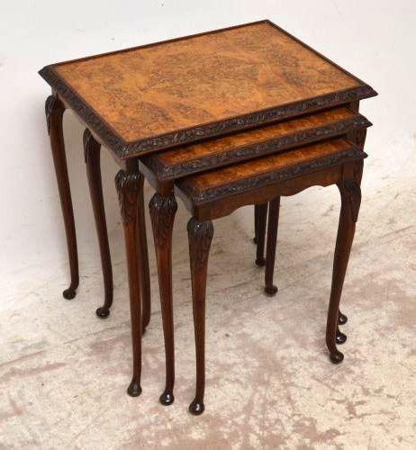 walnut nest of tables antique burr walnut nest of tables 246114