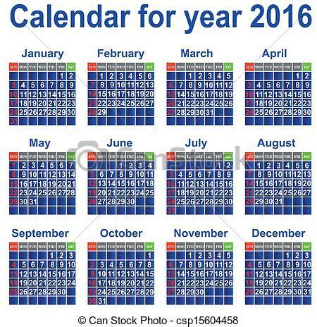 Can Calendrier 2016 Clipart Vector Of Calendar For 2016 Year Calendar