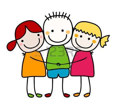Clipart Amicizia Bambini Stilizzati Migliori Amici Bimbe E Bimbette