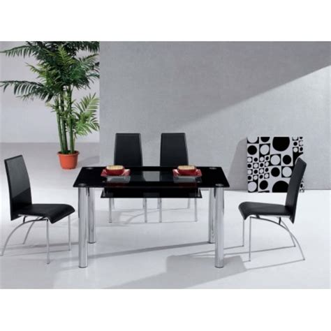 big compact glass dining table and 4 d211 chairs