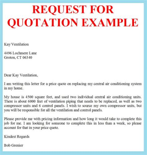 Quote Inquiry Letter Request For Quotation Exle Business Letter Exles