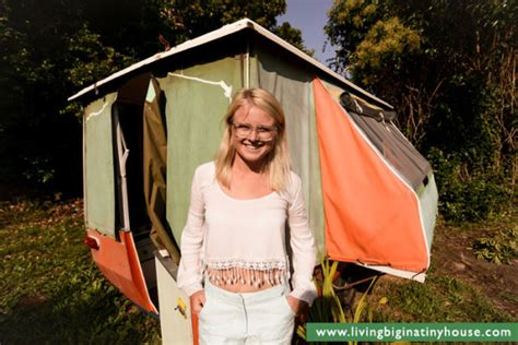 Coleman Pop Up Camper Floor Plans by Woman Escapes High Rent With 1000 Tiny Pop Up Camper
