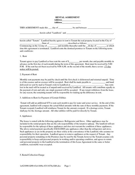 template of a lease agreement for a tenant lease agreement form free free landlord tenant lease
