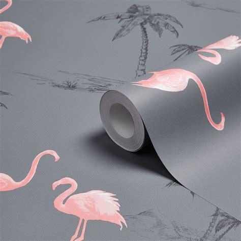flamingo print wallpaper colours charcoal pink flamingo mica wallpaper pink