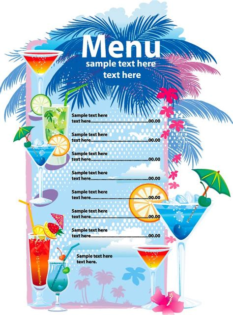 free bar menu template 25 free restaurant menu templates