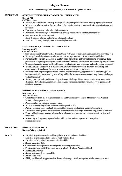 commercial insurance underwriter resume exles insurance underwriter resume sles velvet
