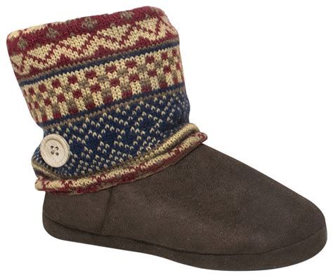 walmart boot slippers muk luks ala mode s knit boot slipper walmart
