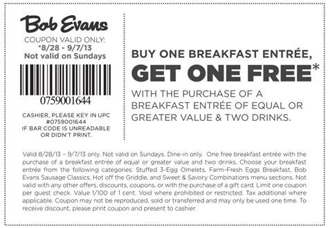 Bob Evans Printable Grocery Coupons   bob evans bogo free breakfast printable coupon