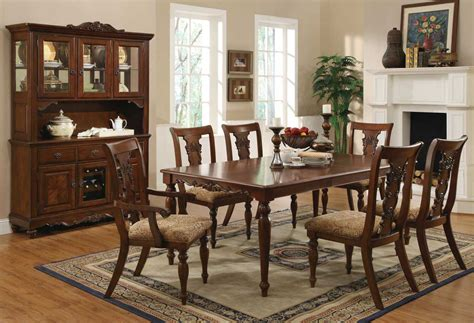 Dining Room Sets by Cherry Brown Finish Transitional Dining Set