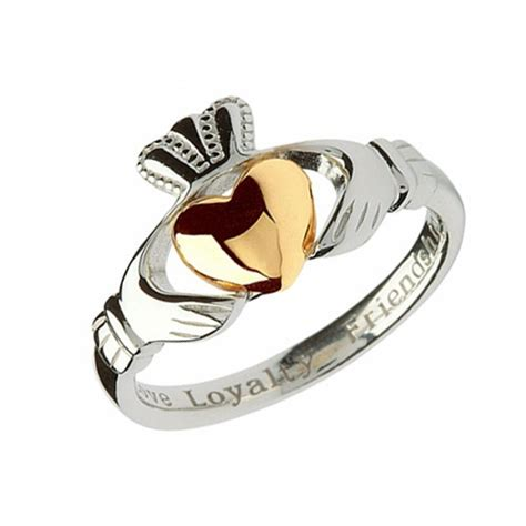 silver claddagh ring with 10kt gold claddagh jewellers