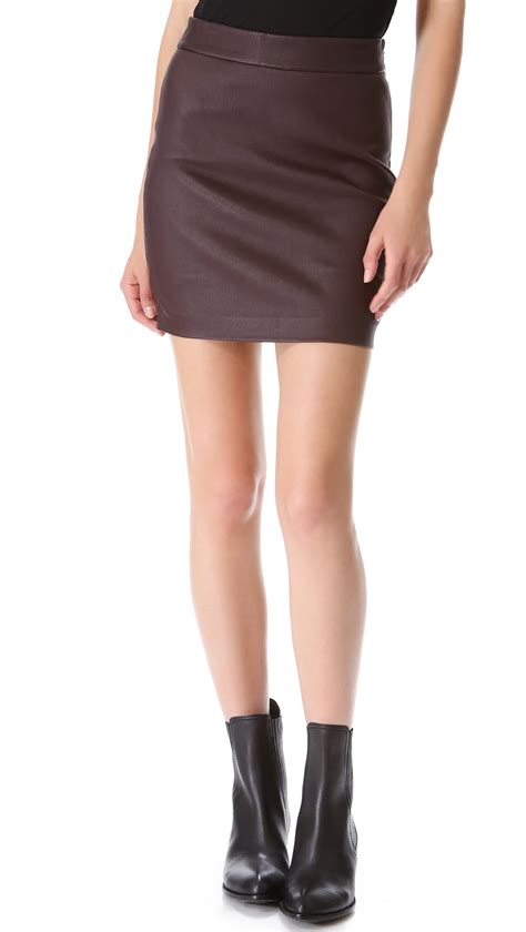 high waisted leather t by wang high waisted leather skirt in brown iodine lyst