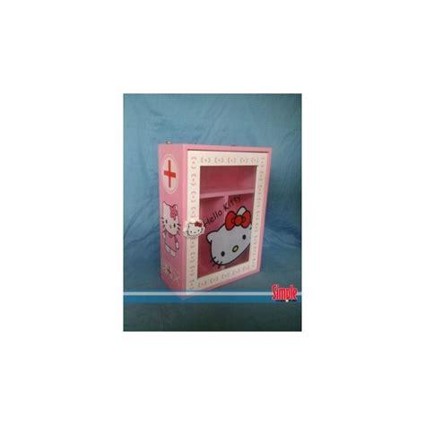 Rak Sepatu Gantung Berkarakter kotak obat hello warna pink desain unik dan minimalis bahan kayu mdf cat duco dan gambar