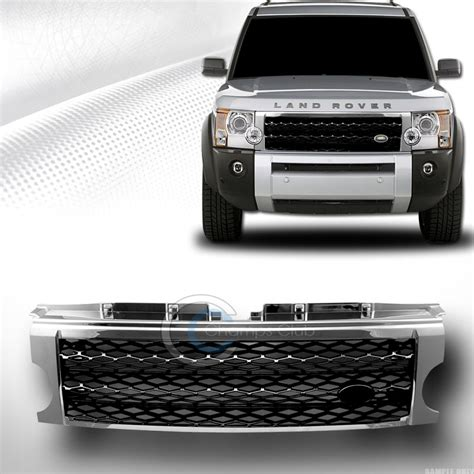 land rover lr3 black chrome black mesh front bumper grill grille 2005 2009 land