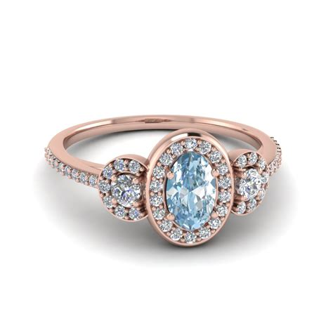 Colored Engagement Rings by Oval Shaped Aquamarine Pave 3 Halo Colored