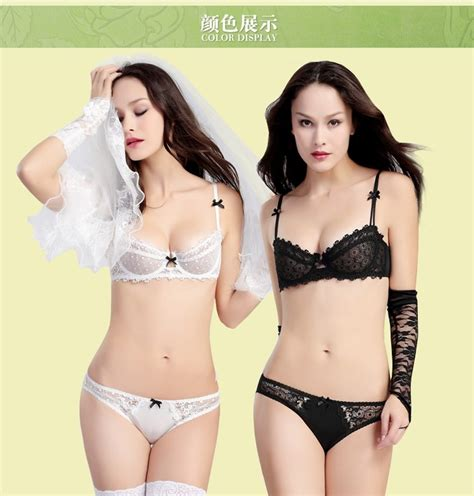 4170 Bra Set Luludi big brand hollow embroidery bra set transparent 1 2 cup brassiere and lace