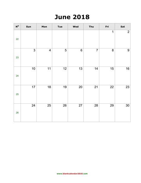 blank calendar  june