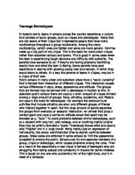 Stereotypes In School Essay by Stereotypes Gcse Sociology Marked By Teachers