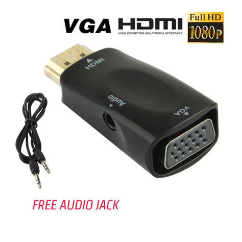Kabel Hdmi To Vga Adapter With Audio Cable jual converter kabel hdmi to vga adapter with audio atau aux di lapak rapeo store rizkiialdi