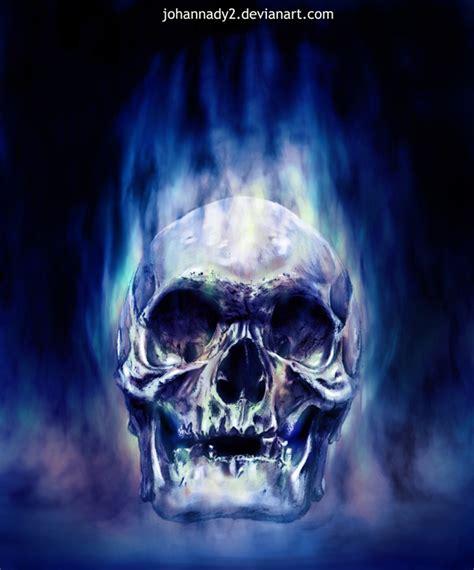 imagenes de calaveras azules blue flaming skull blue flaming skull by johannady2