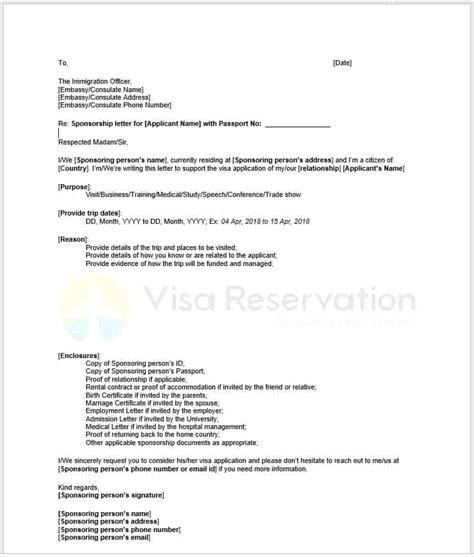 sponsor letter template for visa tourist visa sponsorship letter sle design templates
