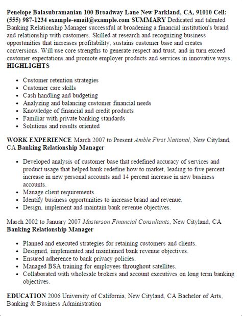 bank manager sle resume professional banking relationship manager templates to