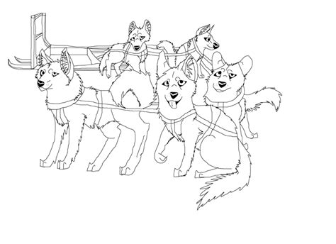 coloring pages of dog sledding sled dog team lineart by aprilsilverwolf on deviantart