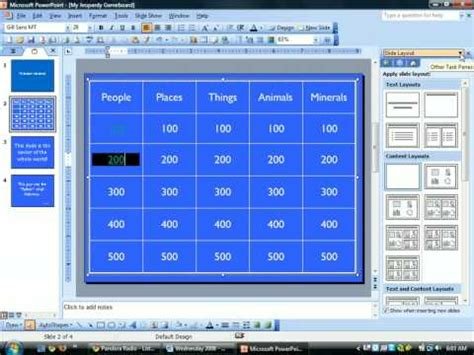 Jeopardy Powerpoint Creating Hyperlinks Youtube How To Make A Powerpoint Jeopardy