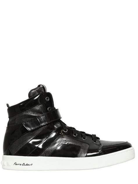 balmain sneakers mens balmain embossed leather high top sneakers in black for