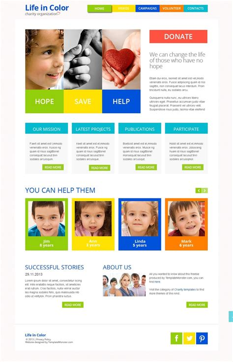 Free Responsive Html5 Theme For Charity Site Charity Website Templates