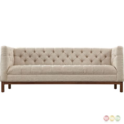 Panache Vintage Square Button Tufted Upholstered Sofa Beige Tufted Sofa