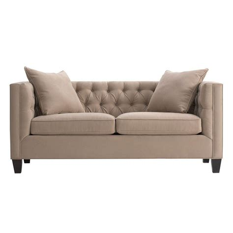 Home Decorators Collection Lakewood Light Taupe Microsuede Lakewood Tufted Sofa