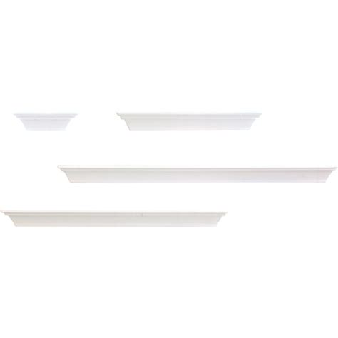 nexxt classic floating wall shelves white set of 4 in
