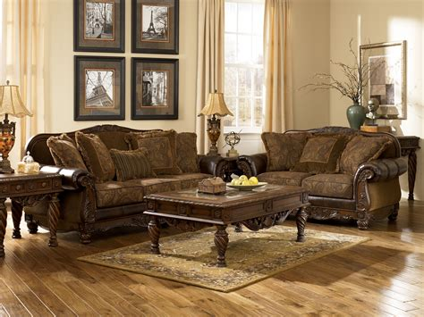 live room set ashley furniture fresco 63100 durablend antique living