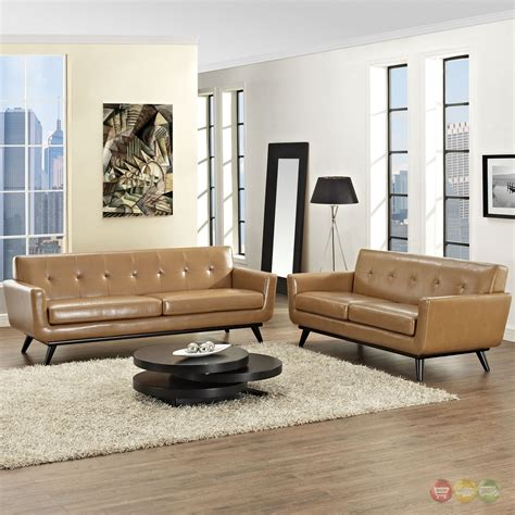 engage contemporary 2pc button tufted leather living room