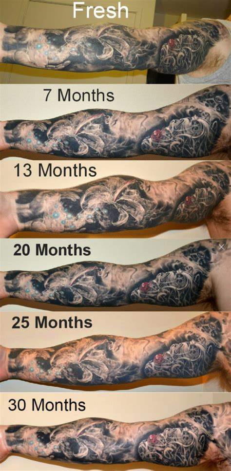 aged tattoos before and after photos show how tattoos age and fade