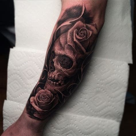 skull and rose sleeve tattoo 40 awesome skull designs